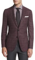 Isaia Dustin Check Two-Button Sport Coat, Lavender/Brown