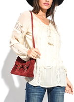 Miss June Beige Embroidered Tassel-Tie Scoop-Neck Top