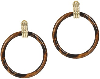 Gem Gossip Textured Gemstone Hoop Earrings, 10K Gold