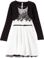 Beautees White & Black Floral Bolero Dress Set - Girls