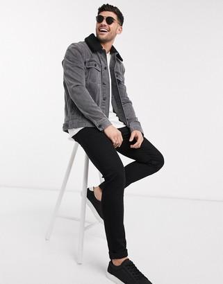 ASOS DESIGN denim jacket with detachable borg collar in grey
