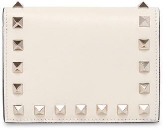 Valentino Rockstud Leather Compact Wallet