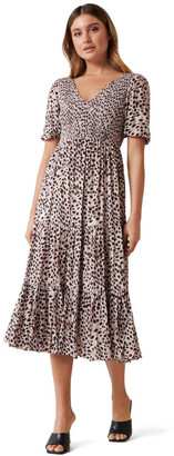 Forever New Amy Tiered Animal Midi Dress