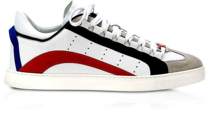 DSQUARED2 White Leather Men's Low Top Sneakers