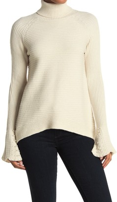 Cyrus Faux Pearl Sleeve Ribbed Knit Sweater