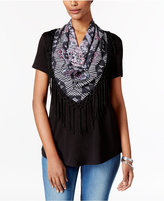 Style&Co. Style & Co. Petite T-Shirt with Printed Fringe Scarf, Only at Macy's