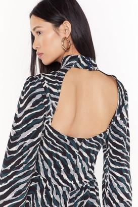 Nasty Gal Womens Out On the Wild Side Zebra Midi Dress - Black - 4