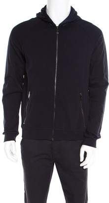Prada Navy Blue Cotton Jersey Zip Front Felpa Blouson Hoodie L