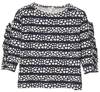 crewcuts by J.Crew Ruffle Sleeve Top (Toddler/Little Kids/Big Kids) (Navy/Ivory) Girl's Clothing