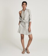 Thumbnail for your product : Reiss Kara - Fabric Mix Mini Skirt in Pale Green