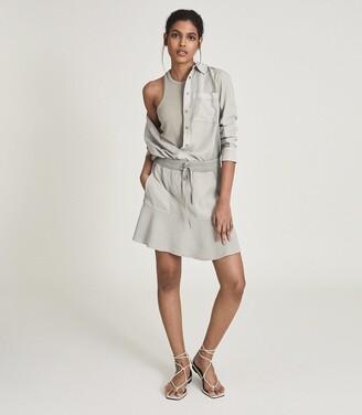 Reiss Kara - Fabric Mix Mini Skirt in Pale Green