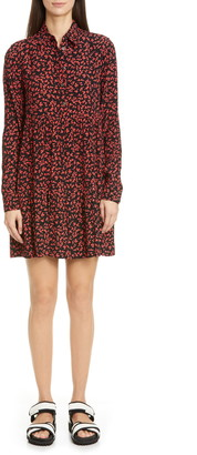 Ganni Floral Logo Print Crepe Long Sleeve Shirtdress