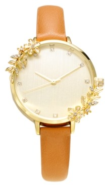 INC International Concepts Inc Women's Brown Faux Leather Strap Watch 36mm, Created for Macy's