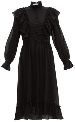 See by Chloe Plisse Ruffle-trimmed Georgette Midi Dress - Womens - Black
