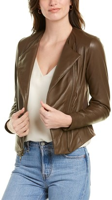 Vince Ribbed Panel Leather Jacket
