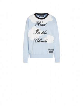 Boutique Moschino Head In The Clouds Cotton Pullover Woman Blue Size 38 It - (4 Us)