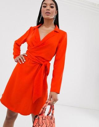 Asos Design DESIGN collar detail tie wrap around mini dress-Orange