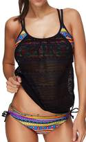 Pandolah Women Tribal Printed 3 Pieces Bikini with Boyshort Tankini Sets