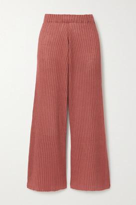 Base Range Net Sustain Loch Ribbed Linen Wide-leg Pants - Pink