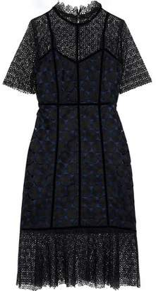 Elie Tahari Kaila Velvet-trimmed Paneled Guipure Lace Dress