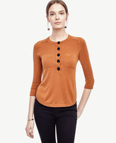 Ann Taylor Silk Cotton Henley Top