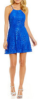 Teeze Me High Neck Tonal Sequin-Embellished Lace Skater Dress