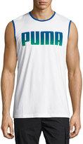 Puma Logo-Front Sweat Tank, White