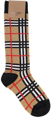 Burberry Check Cotton Blend Knit Socks