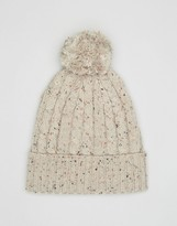 Asos Cable Bobble Beanie In Ecru Nep