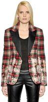 Faith Connexion Bleached Plaid Wool & Satin Jacket