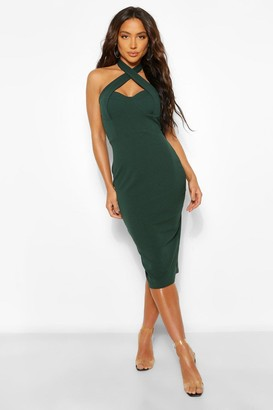 boohoo Cross Over Bodycon Midi Dress