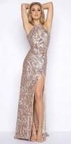 Mac Duggal Shimmering Plunging Cowl Back Keyhole Halter Prom Dress