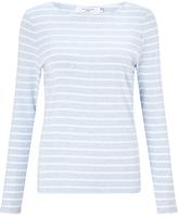 John Lewis Boat Neck Stripe Long Sleeve T-Shirt, Blue/White