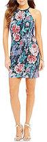 Jump Floral-Print Glitter Lace High Neck Sheath Dress