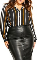 City Chic Golden Stripe Tunic Shirt