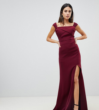 Yaura off shoulder thigh split maxi dress in maroon