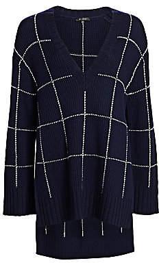 St. John Women's Windowpane Knit High-Low V-Neck Sweater