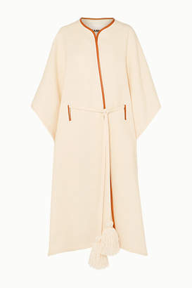 Jil Sander Leather-trimmed Wool And Silk-blend Cape - Off-white