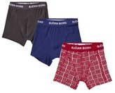 Bjorn Borg Pack of 3 Grey, Blue and Red Patterend Trunks