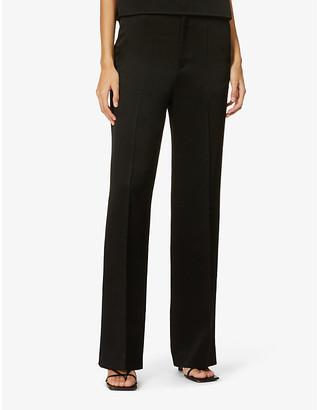 BA&SH Amie wide-leg high-rise satin-crepe trousers