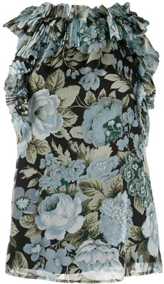 P.A.R.O.S.H. Ruffled Floral Trimmed Tank Top