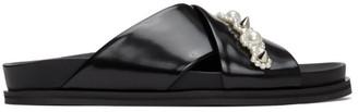 Simone Rocha Black Leather Beading Sandals