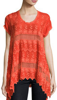 Lilano Short-Sleeve Georgette Tunic, Plus Size