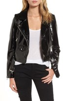 Vigoss Women's Faux Patent Leather Biker Jacket
