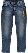 River Island Boys Blue Dylan embroidered slim fit jeans