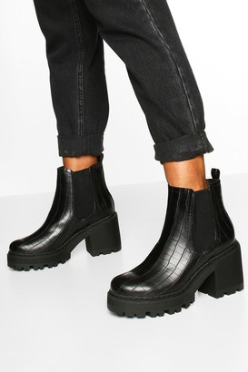 boohoo Wide Fit Chunky Chelsea Boots