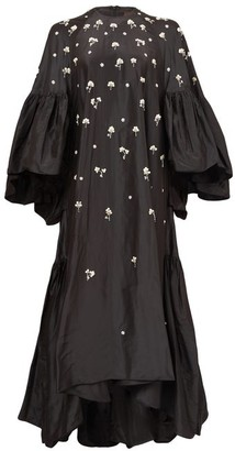 Biyan Gwyn Floral-sequinned Silk-taffeta Gown - Black