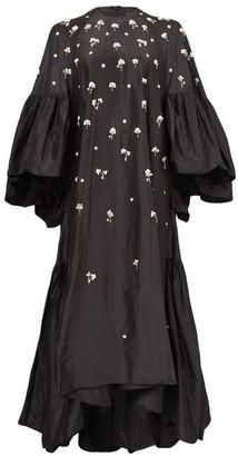 Biyan Gwyn Floral-sequinned Silk-taffeta Gown - Black