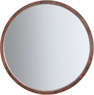 Unbranded Marx Wood Framed Round Mirror, 90cm, Natural