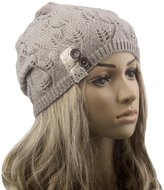 Towallmark Women Leaves Hollow Out Knitting Hat